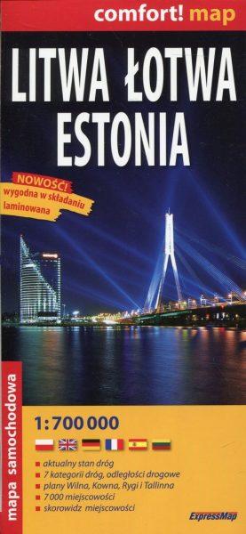 Litwa, Łotwa, Estonia. Mapa samochodowa, 1:700 000