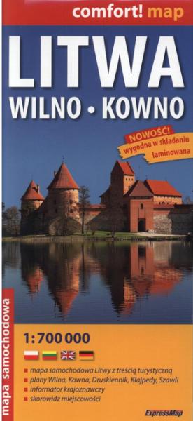 Litwa, Wilno, Kowno. Laminowana mapa samochodowa, 1:700 000, 1:10 000