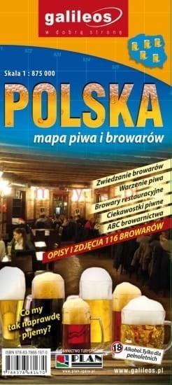 Mapa piwa i browarów – Polska 1:875 000